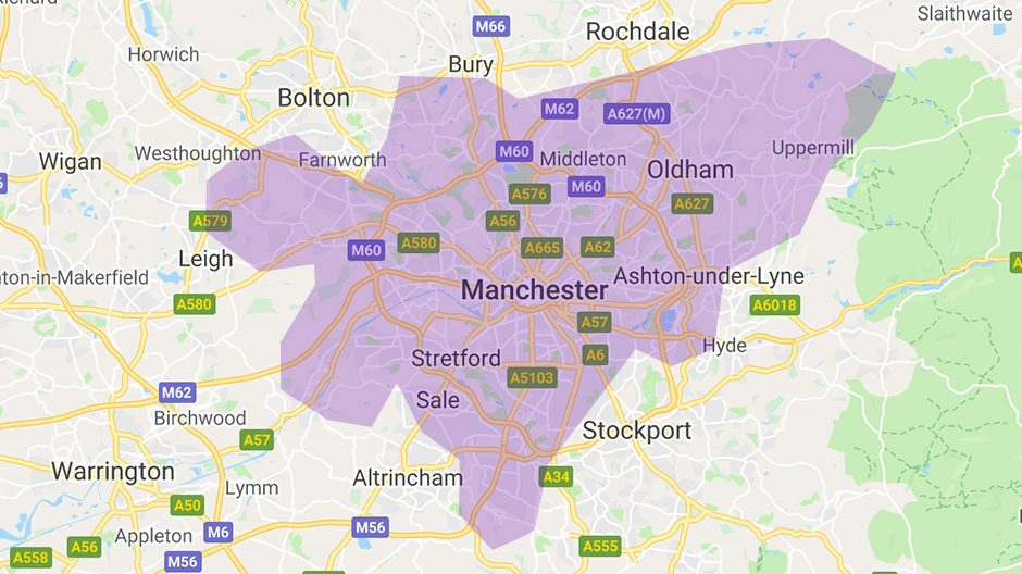 Areas we cover  - Manchester