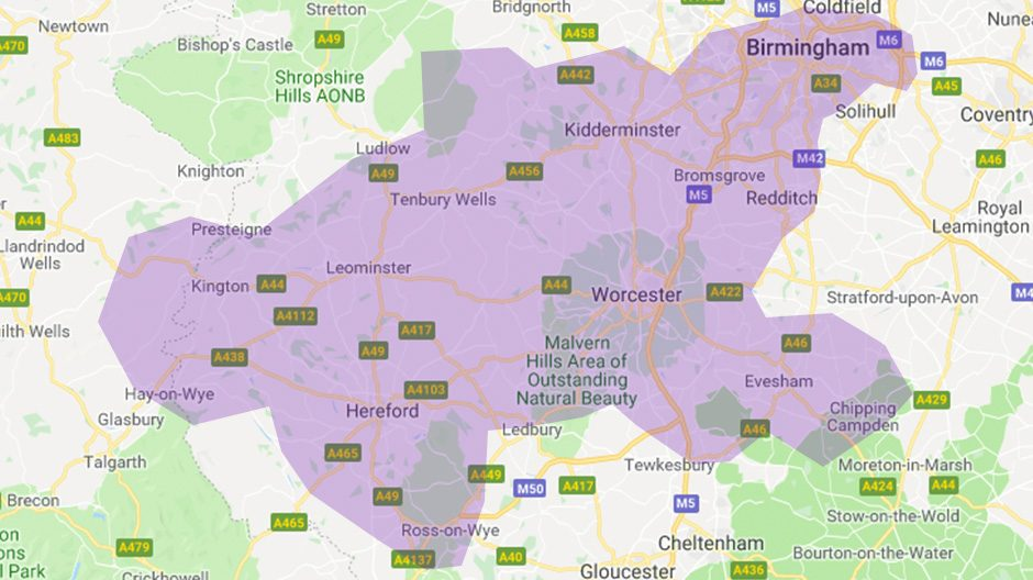 Areas we cover - Birmingham and Hereford