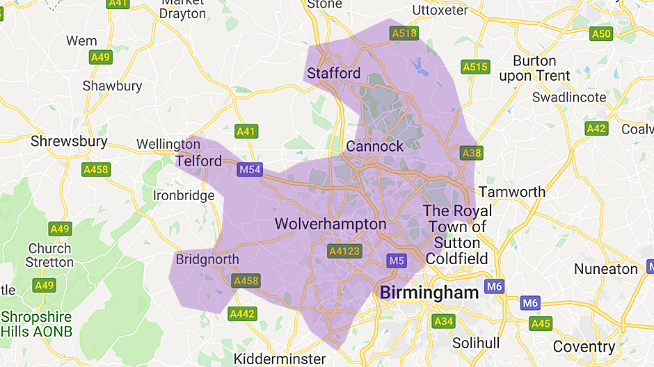 Areas we cover - Wolverhampton