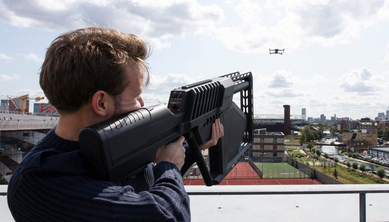 Man using counter drone technology