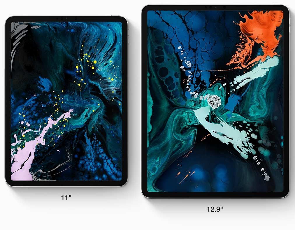 Images of the 11 inch and 12.9 inch iPad Pros