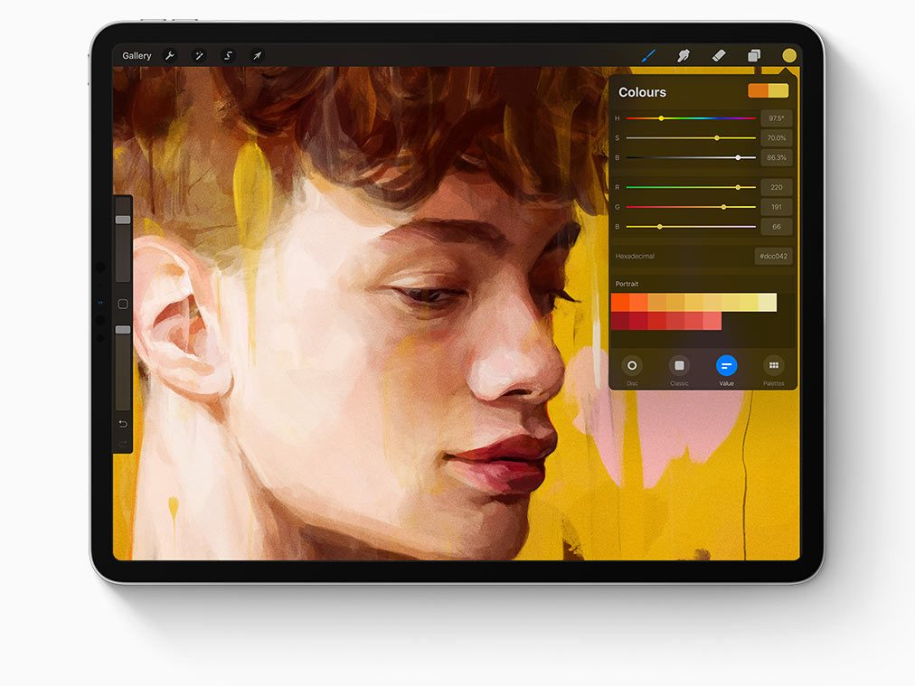 Image of painting functionality on iPad Pro